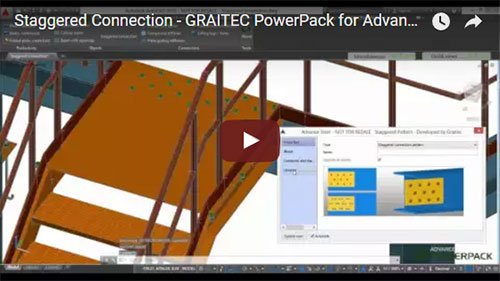 Graitec PowerPack for Advance Steel - Staggered Connection