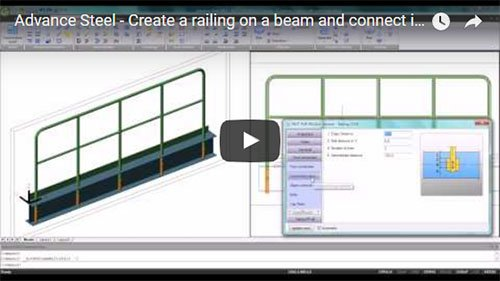 Create a railing on a beam and connect it with outer tubes