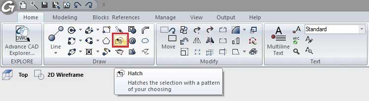 Hatch feature location on the Draw panel of the Home ribbon tab