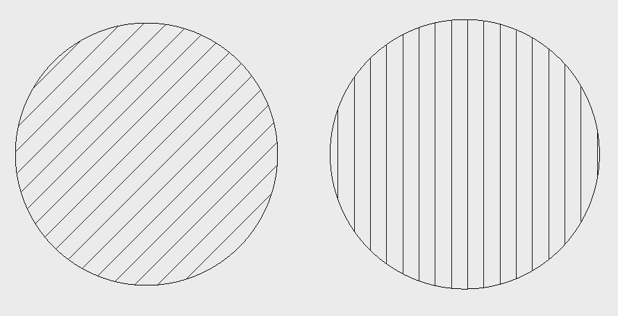 Examples of different angles input: Left – 0 degrees; Right – 45 degrees