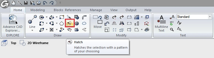Hatch feature command on the Draw panel of the Home ribbon tab