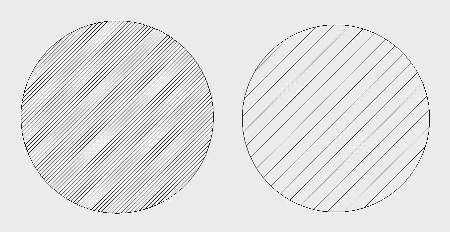 Examples of different scaling input: Left – Scale 10; Right – Scale 40