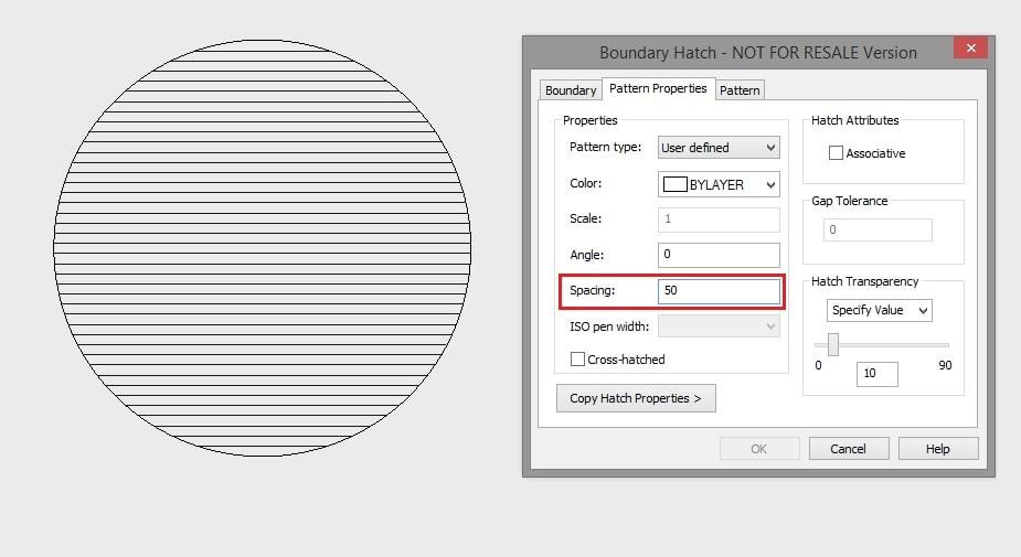 Choosing hatch spacing dimensions