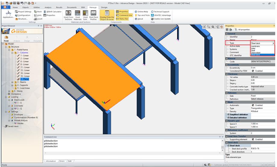 Steel deck in Advance Design
