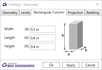 Column properties imported in BIM Designers