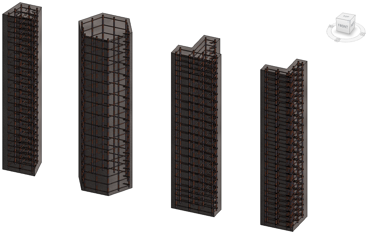 Different concrete column types automatically reinforced in Revit with Advance BIM Designers add-on
