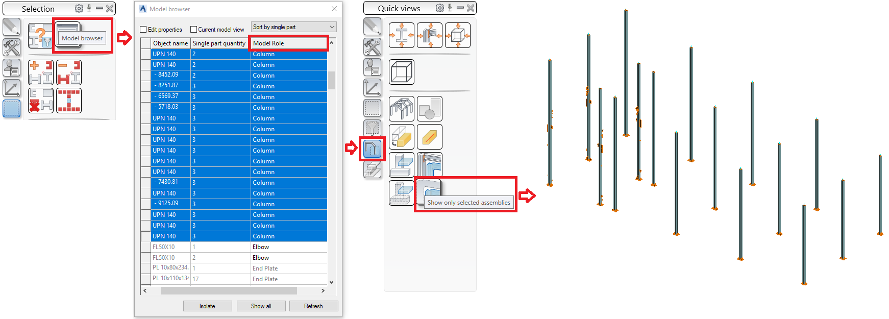 "Show only the selected assemblies with the ""Columns"" model role"