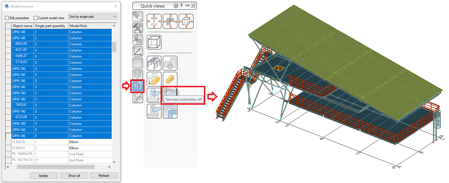 "Hide the selected assemblies with the ""Columns"" model role"