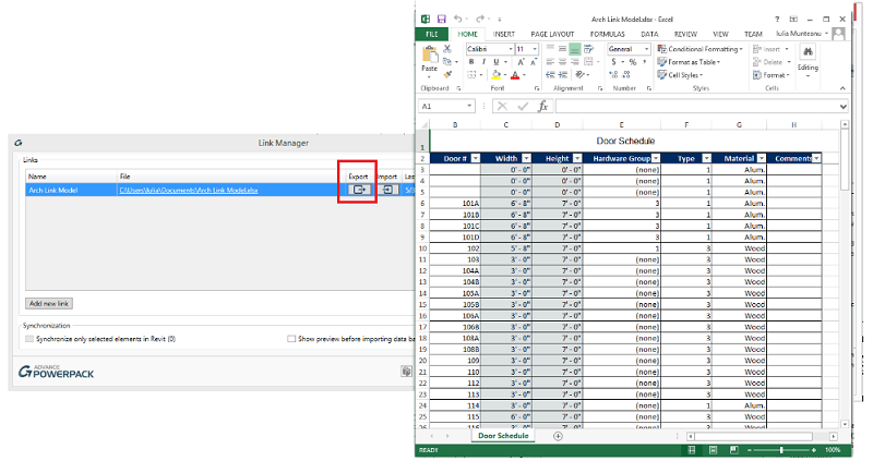 Export to Excel and open the Excel file from Link Manager window