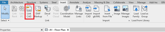 Revit Insert Tab, Link CAD command
