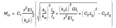 Formula used by Advance Design to compute the elastic critical moment